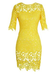 Yellow Cutwork Lace Short Sleeve Bodycon Dress