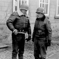 Lt. Gen. George S. Patton speaks to Brig. Gen. Anthony McAuliffe in January 1945. Patton led the Third Army in a sweep across France and an instrumental role in defeating the German counter offensive in the Ardennes. Patton commanded the Third Army from 1944 to 1945.