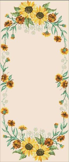 Permin 58 Tablecloth with sunflowers Cross Stitch Borders, Cross Stitch Flowers, Cross Stitching, Cross Stitch Embroidery, Cross Stitch Patterns, Bullet Journal Frames, Primitive Wood Signs, Palestinian Embroidery, Needlepoint Stitches