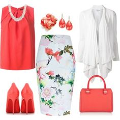 A fashion look from May 2015 featuring Splendid cardigans, Joseph blouses and River Island skirts. Browse and shop related looks. Komplette Outfits, Spring Outfits, Fashion Outfits, Work Fashion, Runway Fashion, Womens Fashion, Red Blouses, Blouses For Women, Chiffon Blouses
