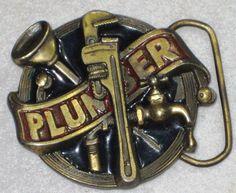 1982 Plumber Belt Buckle Great American Solid Brass/Bronze Numbered #TheGreatAmericanBuckleCo