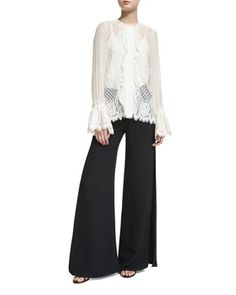 Amilina+Long-Sleeve+Lace+Silk-Trim+Top+&+Brenda+Wide-Leg+Side-Slit+Pants+by+Alexis+at+Neiman+Marcus.