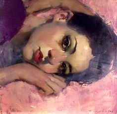 """""""Head in Purple and Pinks"""" - Malcolm T. Liepke (b. 1954), oil on canvas {contemporary artist figurative beautiful female woman face portrait oil painting} ♥ Amorous !!"""