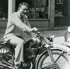 "Hope for teenage nerds everywhere...a young James Dean (before his teenage angst set in) on his first motorcycle.  A 1947 CZ 125-cc which he purchased at age 15.  People in his small Indiana hometown said he ""only had one speed on that bike...wide open."""