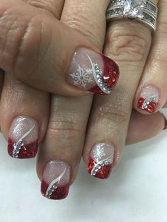 Red glitter french bling rhinestones snowflake christmas gel nails winter nail designs with Christmas Gel Nails, Christmas Nail Art Designs, Winter Nail Designs, Holiday Nails, Glitter Gel Nails, Gold Nails, Red Glitter, Acrylic Nails, Nagel Bling