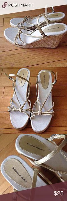 """Banana Republic wedges Jute rope wedges with gold braided straps Heel height is 4 1/2"""" Beautiful sandals!!  Excellent condition!! Banana Republic Shoes Wedges"""