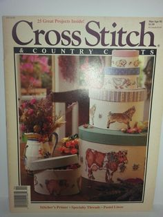 Cross Stitch & Country Crafts Projects March April 1991 Magazine Booklet #CrossStitchCountryCraftPatterns #variety