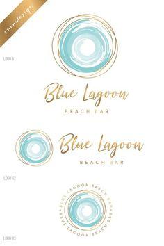 Travel logo, Sea logo, Tropical logo, Sun logo, Watercolor l… - Graphic Work Circle Logo Design, Circle Logos, Logo Inspiration, Logo Voyage, Brand Identity Design, Branding Design, Self Branding, Sea Logo, Waves Logo