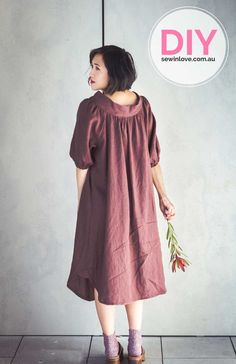Smock dress made using Merchant and Mills linen fabric. The sewing pattern is a Japanese one from Feminine Wardrobe.