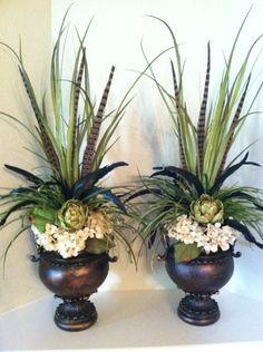 Artificial Floral Arrangements, Modern Flower Arrangements, Silk Flower Arrangements, Silk Flower Bouquets, Silk Flowers, Flower Vases, Bridal Bouquets, Tuscany Decor, Wall Plant Hanger
