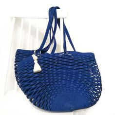 These gorgeous hand woven handbags are the perfect pieces that can also serve as a basket. Net Bag, Big Bags, Cotton Rope, Straw Bag, Royal Blue, Hand Weaving, Sewing, Farmers, South Africa