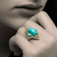 """- Blue Dreams with """"ADELINA"""" a stunning combination of Persian Turquoise and Diamonds from ✨ Diamond Gemstone, Diamond Jewelry, Gemstone Jewelry, High Jewelry, Jewelry Rings, Women's Rings, Jewelry Box, Stackable Birthstone Rings, Turquoise Jewelry"""
