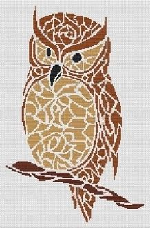 Tribal Owl Cross-Stitch Pattern