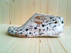 Vintage Wooden Shoe Form Floral Black White by LeftysHandcrafts
