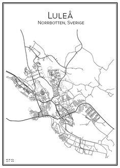 Luleå. Norrbotten. Sweden. Map. City print. Print. Affisch. Tavla. Tryck.