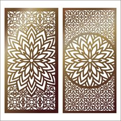 Set of Vector Laser cut panel. Pattern template for decorative panel. Wall panels or partition. Fretwork floral patterns with mandala