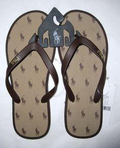 Ralph Lauren Polo All Over Pony Mens Flip Flops Thongs Sandals XL 13 Brown | eBay