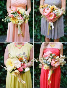 Bridesmaids with mismatched dresses + bouquets