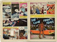 This is a spread from Jim Rugg and Brian Maruca's Afrodisiac. It's a funny little book published here in Richmond that straddles the line between Blaxploitation homage and design masterpiece. The book reads like a greatest hits compilation of a classic comic book, but the reality is that it's just random stories put together in the last few years all put together in a convincingly retro manner. Such a fun read, and a stunningly beautiful book.