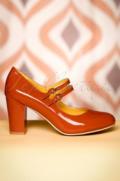 dde429a27830 60s Golden Years Lacquer Pumps in Ginger