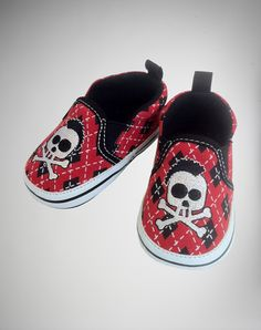 Baby Red and Black Argyle with Skull Soft Bottom Shoes