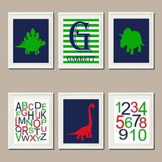 DINOSAUR Nursery Art Decor Name Monogram ABC by LovelyFaceDesigns,