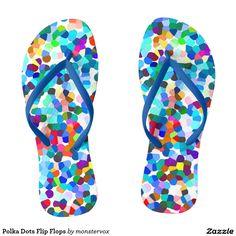 Polka Dots Flip Flops #FlipFlops #Sandals #Shoes #PolkaDots #Art