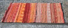 2x4ft Turkish Kilim Flat Weave Handmade Knotted Wool  Rust Earthy tones Brown