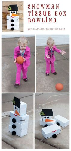 DIY Snowman Bowling game. What a cute idea! #winter #snowman #game