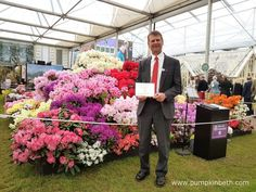 David Millais from Millais Nurseries with his Gold Medal, inside The Great Pavilion, at The RHS Chelsea Flower Show Chelsea 2016, Buy Plants, Garden Show, Chelsea Flower Show, Camellia, Magnolia, David, Nursery, Flowers