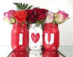 Valentines Day Decor, Distressed Mason Jars, Cute Home Decor, Colorful Home… Home Decor Colors, Cute Home Decor, Colorful Decor, Decor Diy, Valentine's Home Decoration, Decor Room, Decor Ideas, Valentines Day Decorations, Valentine Day Crafts