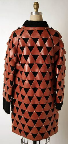 Coat, Paco Rabanne (French, born Spain, 1934), wool, leather, French