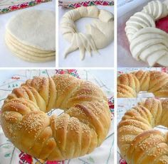 This Delicious Bread Wreath will be Wonderful for a High Tea Cream Cheese Coffee Cake, Chocolate Zucchini Bread, Bread Shaping, Braided Bread, Strawberry Cake Recipes, Strawberry Cheesecake, Tea Recipes, Recipes Dinner, Healthy Recipes