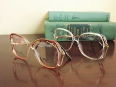 Big Vintage Glasses Womens Mod Eyeglasses in Mocha Brown or Clear by DontUWantMe