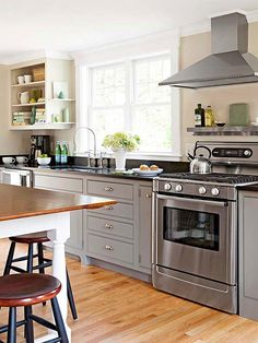 Gray cabinets with a dark counter: this could work in our new house kitchen, which has granite counters that we will be keeping.