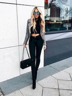 Outfits with jeans, crop top outfits, moda outfits, night outfits, chic . Club Outfits For Women, Mode Outfits, Jean Outfits, Chic Outfits, Trendy Outfits, Clothes For Women, Retro Outfits, Clubbing Outfits With Jeans, Crop Top Outfits