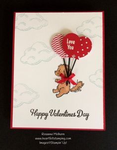 A Puppy Love Valentine - Tic Tac Toe Challenge - Heartfelt Stamping : Stampin Up Bella and Friends Valentine Cards - Rosanne Mulhern Friend Valentine Card, Valentines Day Cards Handmade, Kinder Valentines, Homemade Valentines, Handmade Birthday Cards, Love Valentines, Valentine Poster, Saint Valentine, Tic Tac Toe