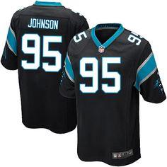 Nike Game Charles Johnson Black Men's Jersey - Carolina Panthers #95 NFL Home