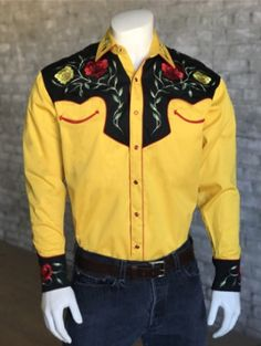 Men's Vintage Inspired Western Embroidered Shirt, Rosed on Gold One of OutWest Shop's customers favorites! We've shipped it around the world. Western Shirts, Western Wear, Black Corduroy Jacket, Tops Online Shopping, African Shirts, African Fashion, African Style, My Horse, Vintage Men