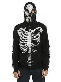 XXX RUDE Black & White Glow-In-The-Dark Skeleton Full-Zip Hoodie, BLACK