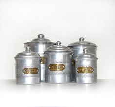 French Canisters from 1900s  Set of 5 Vintage by FrenchVintageShop, €90.00