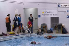 Swim 50 yards without a personal flotation device (PFD); climb out of the pool without using the ladder. Toronto Island, Water Safety, 50 Yards, Ladder, Diving, Have Fun, Basketball Court, Swimming, Club