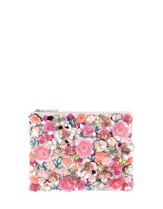 Petals get punchy on our Ivana floral clutch bag. Embellished with sequins and crystal gems to the front, this slim design features a chain strap and top zip...