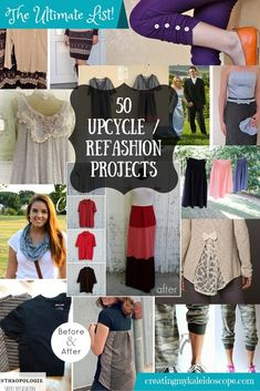 The Ultimate List: 50 Upcycle / Refashion Project To Inspire You We have a lot of debt to pay off. Instead of just limiting spending on new clothes, I've decided to not buy anything new at all. One of the ways that I'm making the most of the things that I Diy Clothes Refashion, Shirt Refashion, Refashioned Clothes, Thrift Store Refashion, Diy Shirt, Sewing Basics, Sewing For Beginners, Basic Sewing, Clothes Crafts