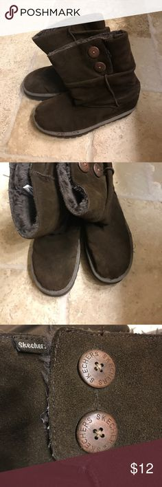 Brown suede sketchers ankle boots Dark brown suede ankle boots with two buttons at the top; super soft and comfy; size 8 1/2; Skechers Shoes Ankle Boots & Booties