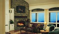 stone, corner fireplace