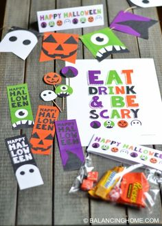 Halloween printables! Perfect for a party, decorating or the classroom. Bookmarks, bag topper, bunting, cupcake topper and eat, drink & be scary sign. All in Orange, purple, green & black. Cute ghost, pumpkin, witch and monster theme.
