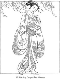 Japanese Kimono Designs Coloring Book Sketch Page
