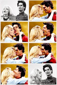 if you haven't, you have to wach this! look up on youtube now: emma stone and andrew garfield kiss:D