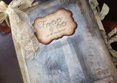 Forever memory Wedding Guest Book  shabby by youruniquescrapbook